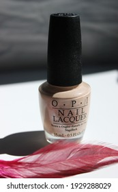March 2021, Swansea, UK.  Product Photography of OPI Nail Varnish, Nude and Blue Color