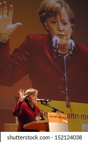 MARCH 21, 2006 - BERLIN: Chancellor Angela Merkel during a party meeting of the Christian Democrats of Berlin before the elections in Berlinin the Kino Babylon, Berlin-Mitte.