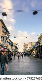 "March 21, 2016 - Jerusalem, Israel: Mahane Yehuda Market is also known as 'The Shuk"". It is a popular market especially on Thrusdays and Fridays."