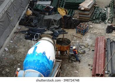 MARCH 21, 2016 : NONTHABURI - THAILAND : Under-construction of concrete building for car parking at Electricity generating authority of Thailand, Nonthaburi