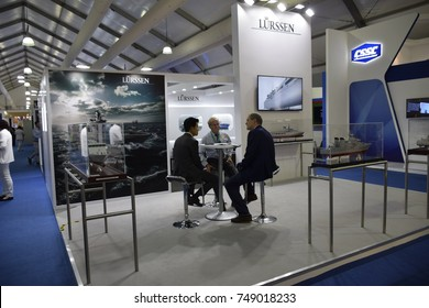 march 21, 2017 langkawi malaysia : booth Lurssen participant and replica new aerospace at langkawi international maritme and aerospace exhibition on 21-25 march 2017