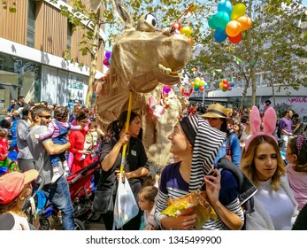 March 21, 2019. Tel Aviv. District FLORENTIN. Festive procession dedicated to Purim Ad-lo-Yad (Until you stop to distinguish). Donkey Column.