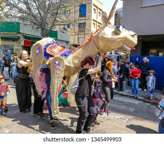March 21, 2019. Tel Aviv. Giant puppets inspired by the work of the famous Israeli painter, sculptor and author Nahum Gutman into an Urban Purim Parade.