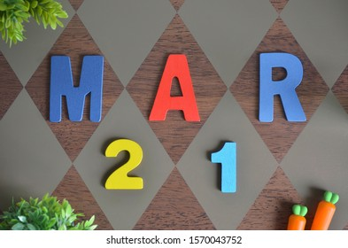 March 21, Birthday for kids with wooden text design for background.