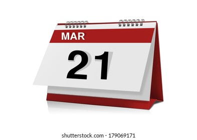 March 21 desktop calendar isolated on white background with clipping path.