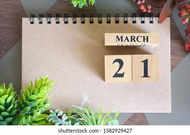 March 21, Natural notebook Calendar.