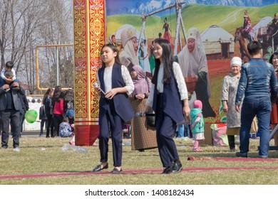 March 22, 2019 Almaty, Kazakhstan. Folk festivities during the celebration of the Nauryz holiday