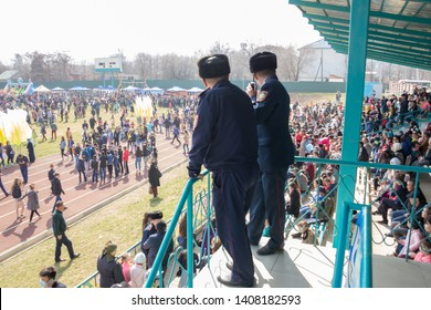 March 22, 2019 Almaty, Kazakhstan. Law enforcement agencies keep order at the stadium during the celebration of the Nauryz holiday