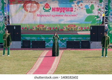 March 22, 2019 Almaty, Kazakhstan. Singers sing songs during the celebration of the Nauryz holiday