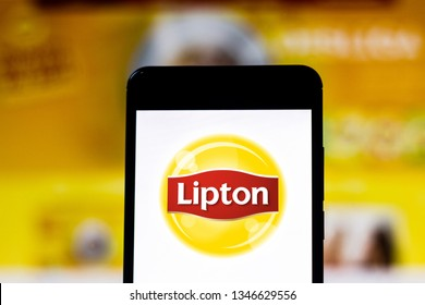 March 22, 2019, Brazil. Lipton logo on the mobile device. Lipton is a British brand of tea, owned by Unilever.