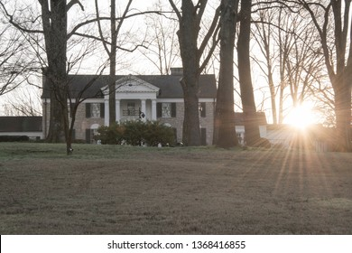 MARCH 22, 2019 - MEMPHIS, TENNESSEE, USA:    Sunrise at Graceland, home of rock and roll star Elvis Presley, in Memphis, Tennessee USA