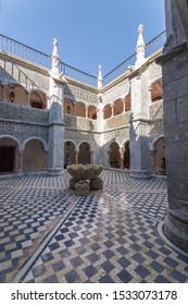 MARCH 22 2019, SINTRA, PORTUGAL, A picture of the Pena Palace inner yard patio with beautiful tiles, carvings and arches on sunny day.