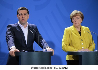 MARCH 23, 2015 - BERLIN: Greek Prime Minister Alexis Tsipras, German Chancellor Angela Merkel - meeting in the Chanclery in Berlin.