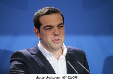 MARCH 23, 2015 - BERLIN: Greek Prime Minister Alexis Tsipras at a press conference after a meeting with the German Chancellor in the Chanclery in Berlin.