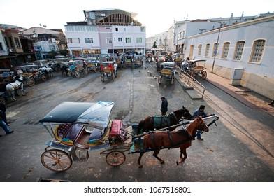 March 23 2017,  Coach horses and coachman in Princes' Islands Buyukada, Istanbul,Turkey