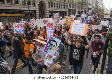 March 24, 2018 - San Francisco, California: Protesters take to the street for the March For Our Lives Protest in downtown San Francisco.