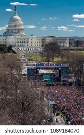 "MARCH 24, 2018: Washington, D.C. Hundreds of thousands gather on Pennsylvania Avenue, NW in ""March for Our Lives"" Rally and Protest, Washington D.C. which shows US Capitol"