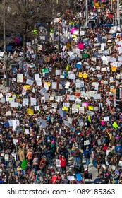 """MARCH 24, 2018: Washington, D.C. Hundreds of thousands gather on Pennsylvania Avenue, NW in """"March for Our Lives"""" Rally and Protest, Washington D.C. - view from the NEWSEUM balcony overlooking PA Av"""
