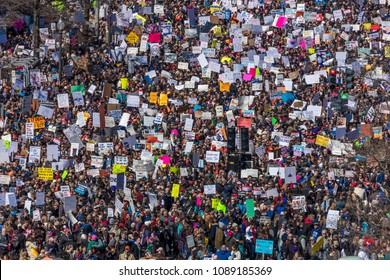 "MARCH 24, 2018: Washington, D.C. Hundreds of thousands gather on Pennsylvania Avenue, NW in ""March for Our Lives"" Rally and Protest, Washington D.C. - view from the NEWSEUM balcony overlooking PA Av"