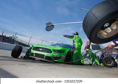 March 24, 2019 - Martinsville, Virginia, USA:  Ryan Newman (6) makes a pit stop during the STP 500 at Martinsville Speedway in Martinsville, Virginia.