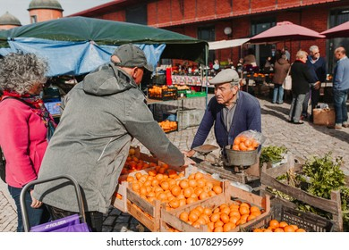 MARCH 24th, 2018 - OLHAO, PORTUGAL: Fruits and vegetables for selling in the street market of Olhão city in Portugal, on March 24th, 2018.
