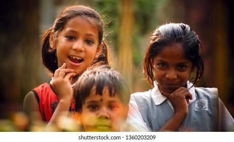 march 25 2015  Mumbai India happy  children posing for camera shot