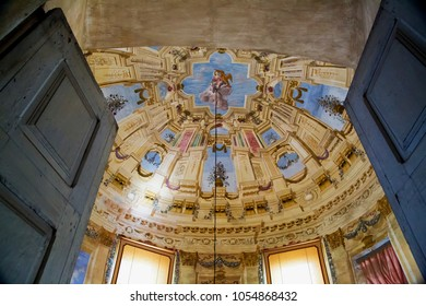 MARCH 25, 2018 - MASINO, ITALY: fresco rooftop with trompe l'oil technique in Masino Castle, Piedmont, Italy