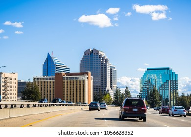 March 25, 2018 Sacramento / CA / USA - Sacramento skyline as seen when driving on the freeway close to the downtown area