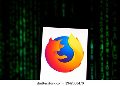 March 25, 2019, Brazil. Mozilla Firefox browser logo on mobile device. Mozilla Firefox is a free, multi-platform browser developed by the Mozilla Foundation with the help of hundreds of contributors.