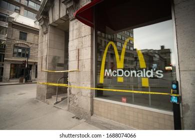 Montréal, Québec - March 25 2020 McDonald restaurant closed due to Covid-19 Coronavirus