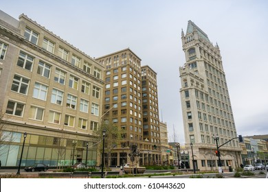 March 26, 2017 Oakland/CA/USA - Street in downtown Oakland and Cathedral Building on a cloudy day