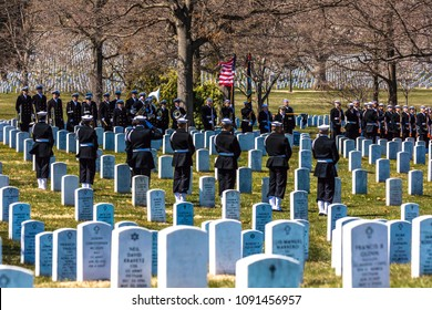MARCH 26, 2018 - ARLINGTON CEMETERY, WASH D.C. - Burial at Arlington National Cemetery, Virginia, with coffin carried on horse drawn caisson