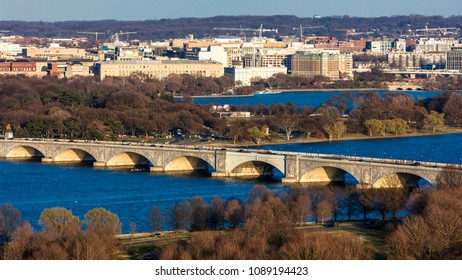 MARCH 26, 2018 - ARLINGTON, VA - WASH D.C. - Aerial view of Washington D.C. from Top of Town restaurant, Arlington, Virginia shows Lincoln & Washington Memorial and U.S. Capitol and Memorial Bridge