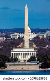MARCH 26, 2018 - ARLINGTON, VA - WASH D.C. - Aerial view of Washington D.C. from Arlington, Virginia shows Lincoln & Washington Memorial and U.S. Capitol