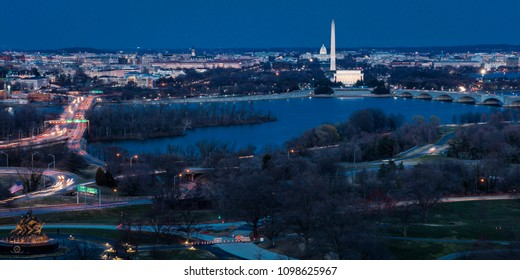 MARCH 26, 2018 - ARLINGTON, VA - WASH D.C. - Aerial view of Washington D.C. from Top of Town restaurant, Arlington, Virginia shows Lincoln & Washington Memorial and U.S. Capitol