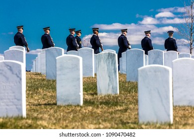 MARCH 26, 2018 - ARLINGTON, WASHINGTON D.C. - Honor Guard anticipates Burial at Arlington National Cemetery, Virginia