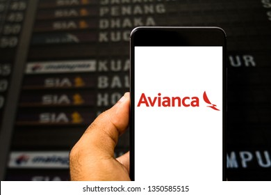 March 26, 2019, Brazil. Avianca logo on the mobile device. Avianca is a Brazilian airline based in São Paulo.