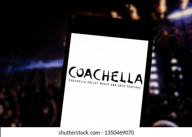 March 26, 2019, Brazil. Coachella Fest logo on the mobile device. Coachella is an annual three-day music and art event hosted by Goldenvoice.