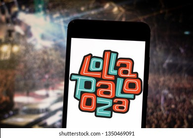 March 26, 2019, Brazil. Lollapalooza logo on the mobile device. Lollapalooza is a music festival that takes place annually, it is composed of genres like rock, heavy metal, punk rock and grunge.