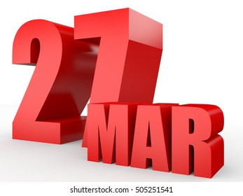 March 27. Text on white background. 3d illustration.