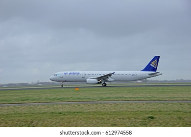 March, 27th 2015, Amsterdam Schiphol Airport P4-KDA Air Astana Airbus A321-231   Polderbaan Runway