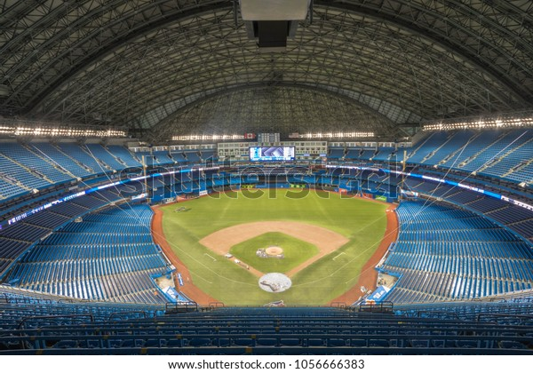 March 27th, 2018.  The Rogers Centre Stadium in Toronto, Ontario being prepared for the 2018 Home Opener in March 29th, 2018 against the New York Yankees.  Photo Taken on March 27th, 2018