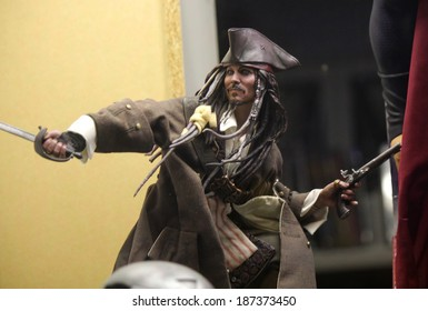 "MARCH 28, 2014 - BERLIN: the character of the pirate captain in the movie ""Pirates of the Caribbean"", Captain ""Jack Sparrow"" (played by Johnny Depp) as an action figure, Berlin."