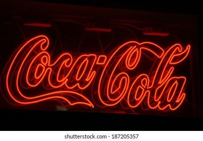 "MARCH 28, 2014 - BERLIN: the logo of the brand ""Coca Cola"", Berlin."