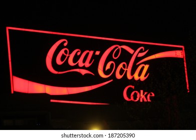 "MARCH 28, 2014 - BERLIN: the logo of the brand ""Coca Cola"", Berlin."