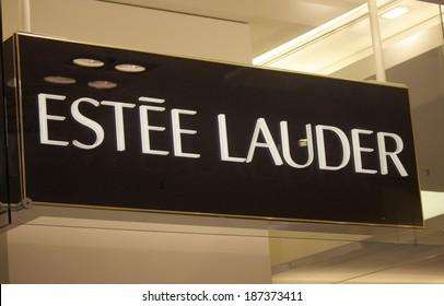 "MARCH 28, 2014 - BERLIN: the logo of the brand ""Estee Lauder"", Berlin."