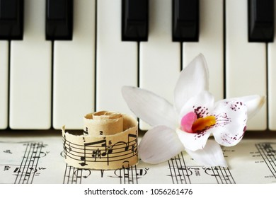 March 28, 2018 Izhevsk Russia Musical notes piano