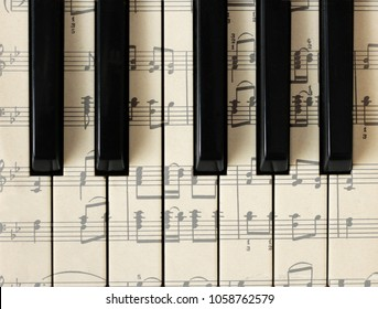 March 28, 2018. Izhevsk, Russia. Musical notes, piano. Background, top view.
