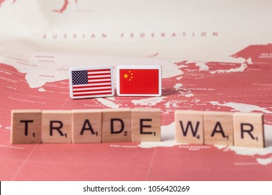 March 28, 2018, the US and Chinese flags and texts at a studio in Seoul, Korea. An illustrative editorial. trade war
