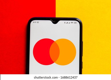 March 28, 2020, Brazil. In this photo illustration the Mastercard logo is displayed on a smartphone.